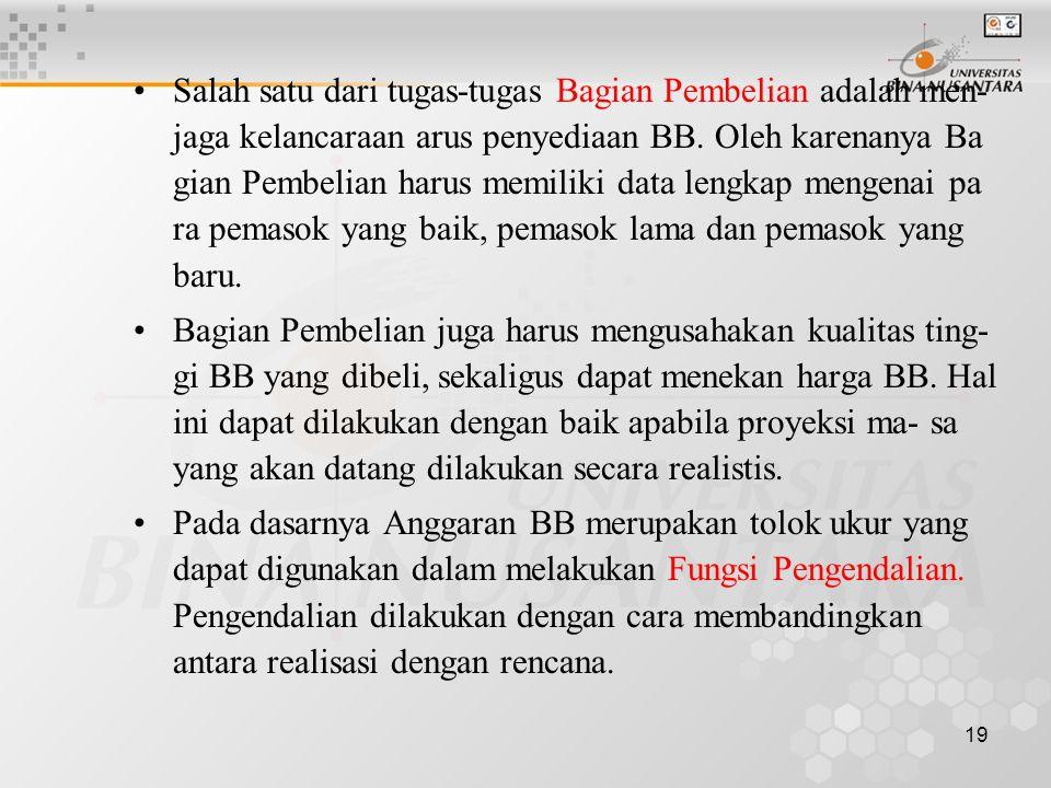 19 •Salah satu dari tugas-tugas Bagian Pembelian adalah men- jaga kelancaraan arus penyediaan BB. Oleh karenanya Ba gian Pembelian harus memiliki data