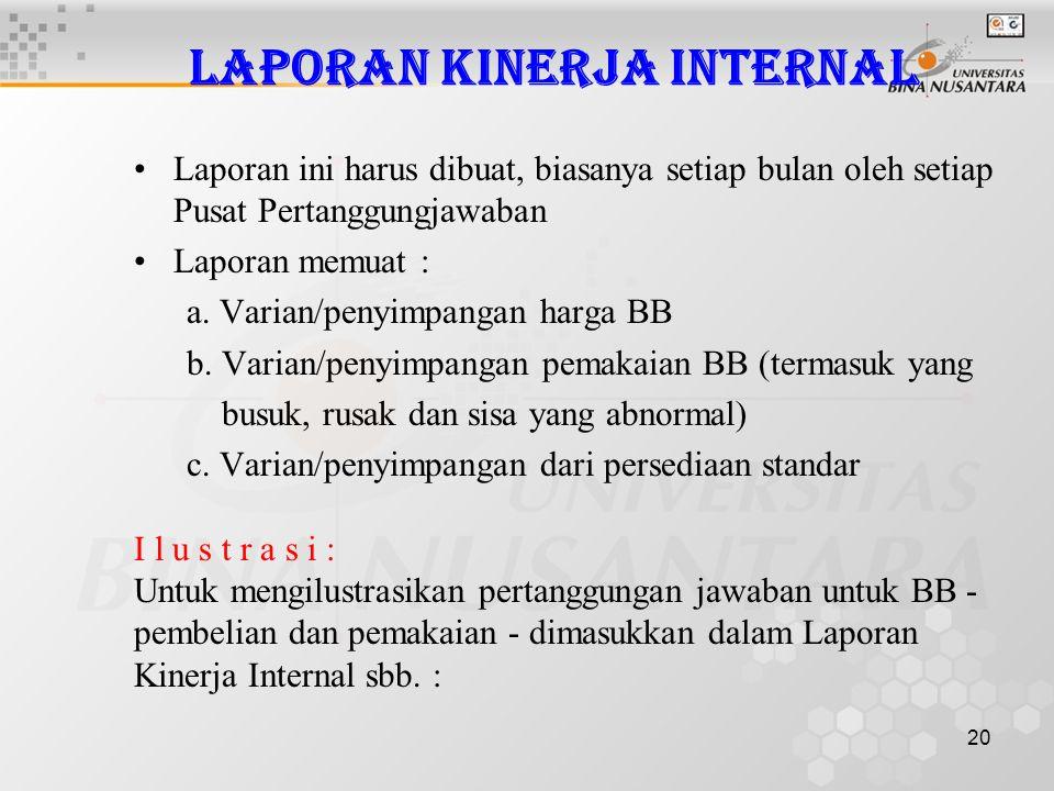 20 Laporan Kinerja Internal •Laporan ini harus dibuat, biasanya setiap bulan oleh setiap Pusat Pertanggungjawaban •Laporan memuat : a. Varian/penyimpa