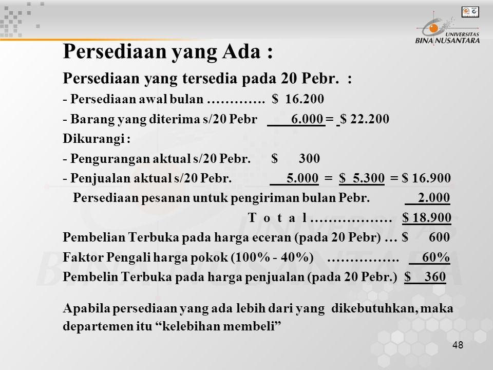 48 Persediaan yang Ada : Persediaan yang tersedia pada 20 Pebr. : - Persediaan awal bulan …………. $ 16.200 - Barang yang diterima s/20 Pebr 6.000 = $ 22