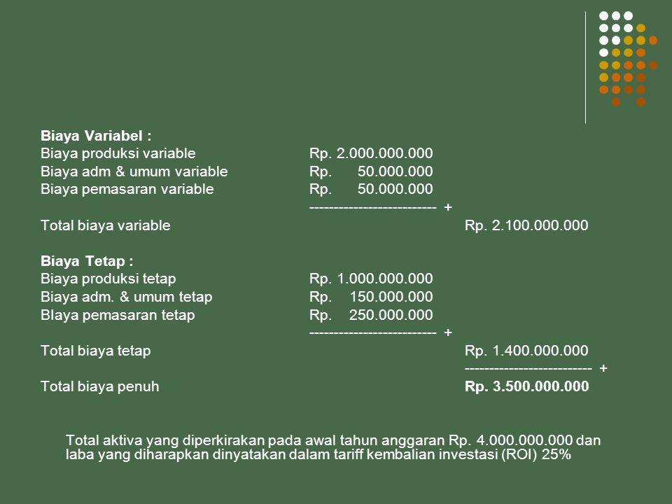 Biaya Variabel : Biaya produksi variableRp.2.000.000.000 Biaya adm & umum variable Rp.