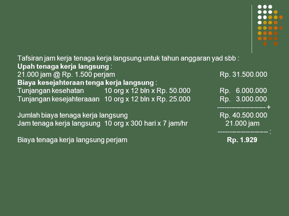 Tafsiran jam kerja tenaga kerja langsung untuk tahun anggaran yad sbb : Upah tenaga kerja langsung : 21.000 jam @ Rp.