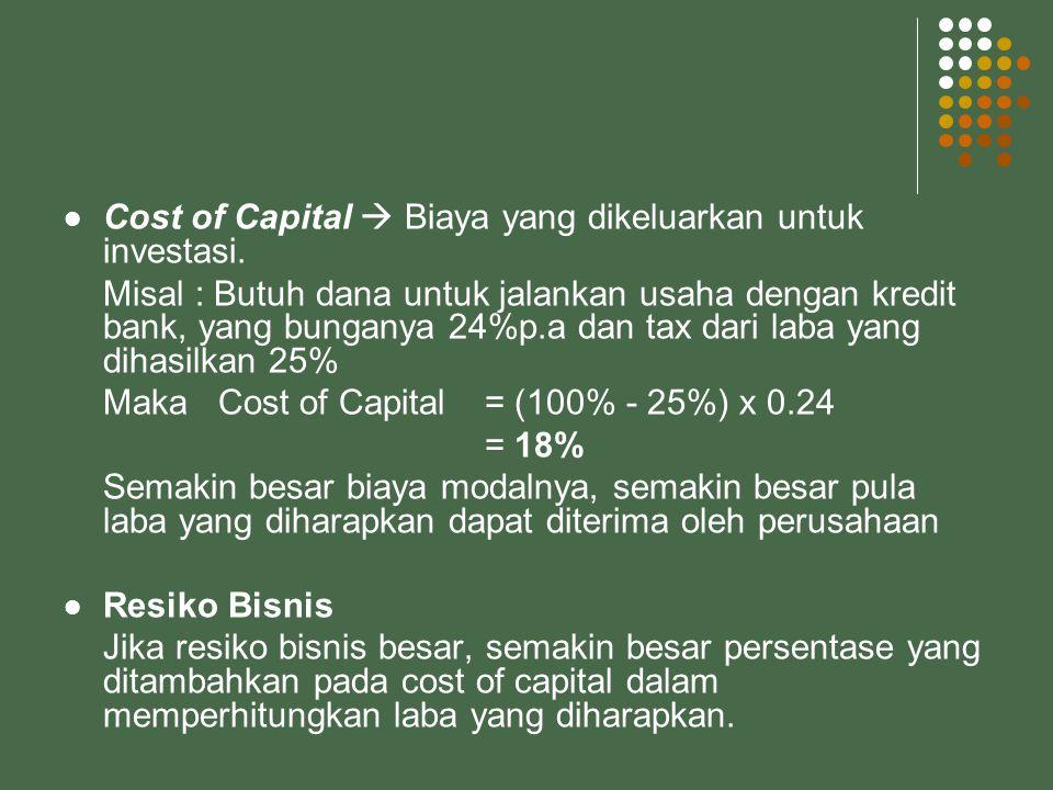  Capital Employed / Jumlah investasi Semakin besar capital employed yang digunakan dalam memproduksi produk, semakin besar pula laba yang diharapkan dalam perhitungan harga jual  Besarnya capital employed yang digunakan dalam memproduksi barang  Dilihat dari total aktiva dalam neraca awal tahun anggaran