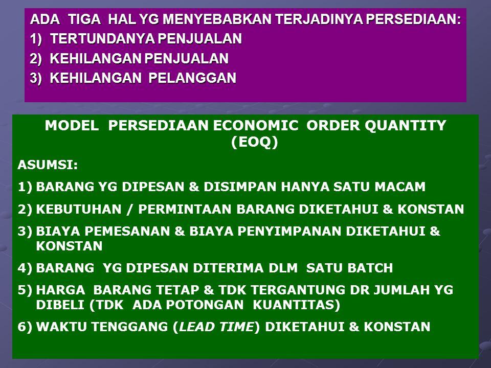 ADA TIGA HAL YG MENYEBABKAN TERJADINYA PERSEDIAAN: 1) TERTUNDANYA PENJUALAN 2) KEHILANGAN PENJUALAN 3) KEHILANGAN PELANGGAN MODEL PERSEDIAAN ECONOMIC ORDER QUANTITY (EOQ) ASUMSI: 1)BARANG YG DIPESAN & DISIMPAN HANYA SATU MACAM 2)KEBUTUHAN / PERMINTAAN BARANG DIKETAHUI & KONSTAN 3)BIAYA PEMESANAN & BIAYA PENYIMPANAN DIKETAHUI & KONSTAN 4)BARANG YG DIPESAN DITERIMA DLM SATU BATCH 5)HARGA BARANG TETAP & TDK TERGANTUNG DR JUMLAH YG DIBELI (TDK ADA POTONGAN KUANTITAS) 6)WAKTU TENGGANG (LEAD TIME) DIKETAHUI & KONSTAN
