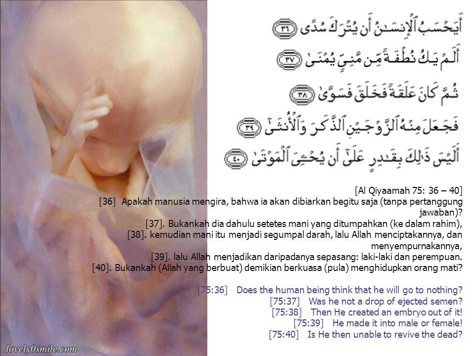 [Al Qiyaamah 75: 36 – 40] [36] Apakah manusia mengira, bahwa ia akan dibiarkan begitu saja (tanpa pertanggung jawaban)? [37]. Bukankah dia dahulu sete