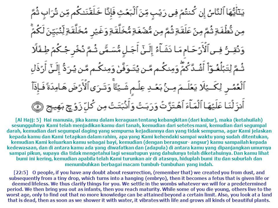 [Al Hajj: 5] Hai manusia, jika kamu dalam keraguan tentang kebangkitan (dari kubur), maka (ketahuilah) sesungguhnya Kami telah menjadikan kamu dari ta