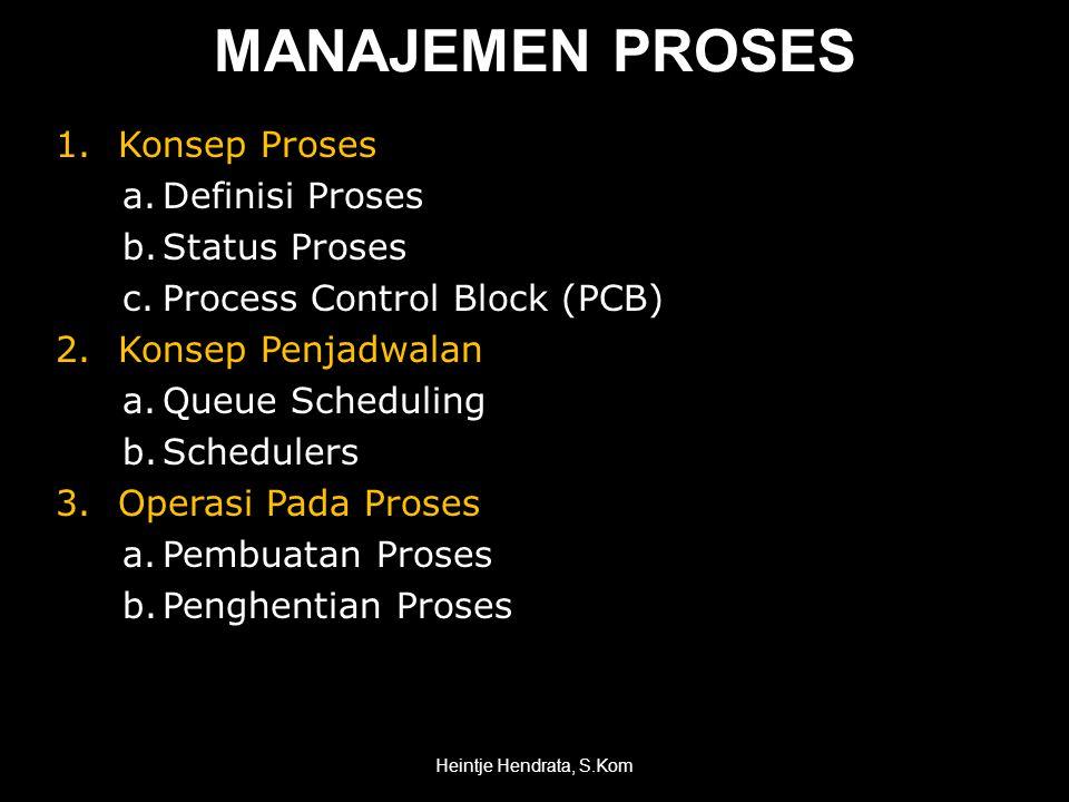 MANAJEMEN PROSES 1.Konsep Proses a.Definisi Proses b.Status Proses c.Process Control Block (PCB) 2.Konsep Penjadwalan a.Queue Scheduling b.Schedulers 3.Operasi Pada Proses a.Pembuatan Proses b.Penghentian Proses Heintje Hendrata, S.Kom