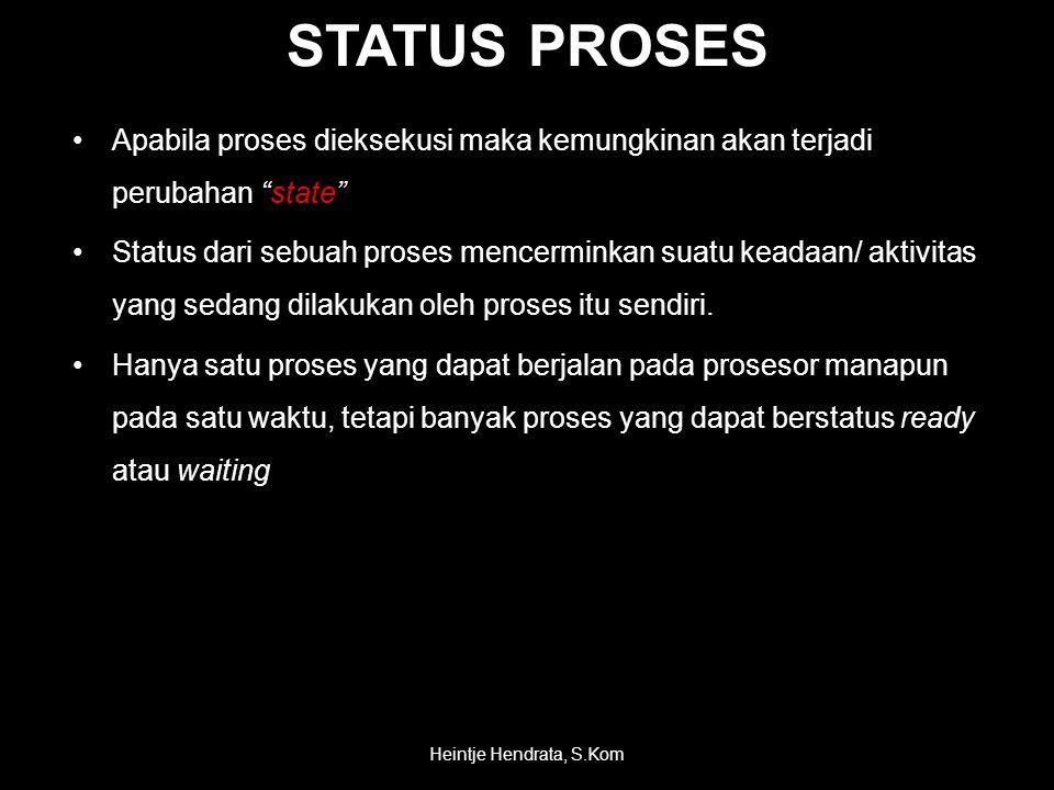 STATUS PROSES •Apabila proses dieksekusi maka kemungkinan akan terjadi perubahan state •Status dari sebuah proses mencerminkan suatu keadaan/ aktivitas yang sedang dilakukan oleh proses itu sendiri.