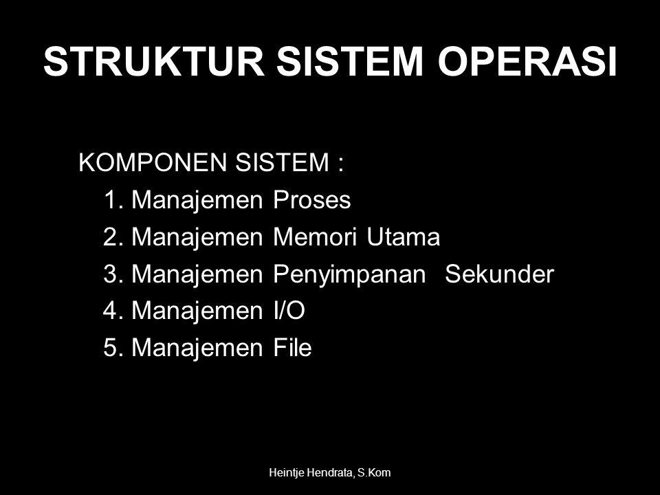 STRUKTUR SISTEM OPERASI KOMPONEN SISTEM : 1. Manajemen Proses 2.