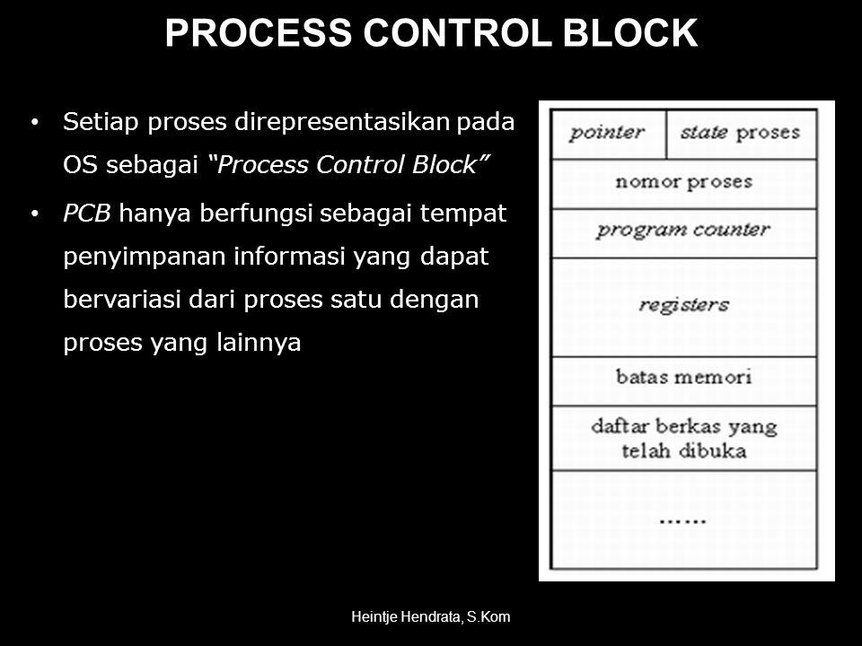 PROCESS CONTROL BLOCK • Setiap proses direpresentasikan pada OS sebagai Process Control Block • PCB hanya berfungsi sebagai tempat penyimpanan informasi yang dapat bervariasi dari proses satu dengan proses yang lainnya Heintje Hendrata, S.Kom