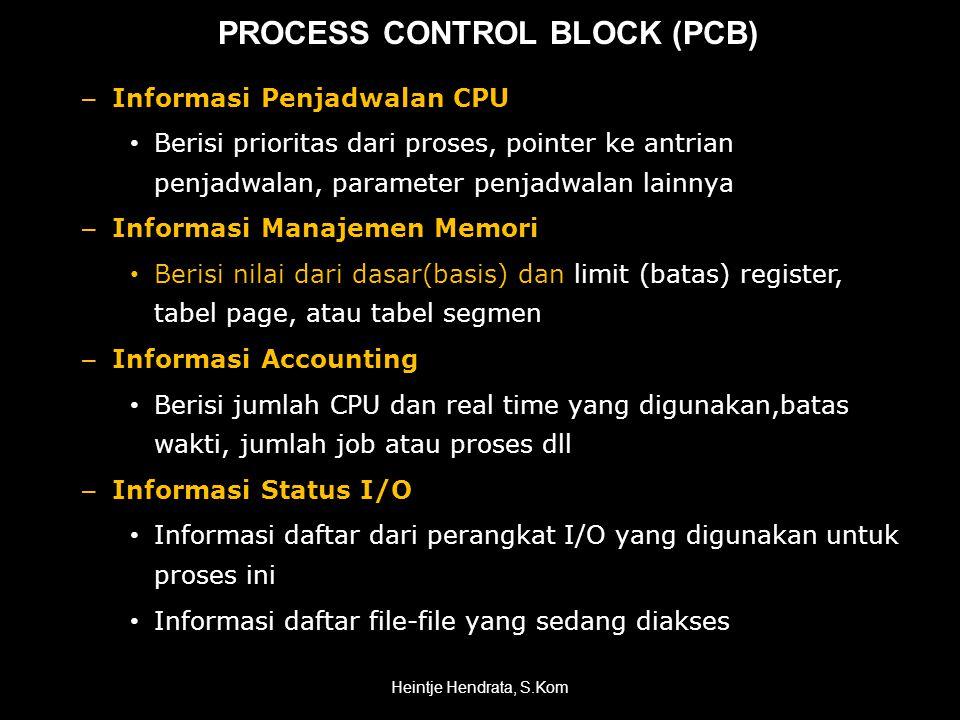 PROCESS CONTROL BLOCK (PCB) – Informasi Penjadwalan CPU • Berisi prioritas dari proses, pointer ke antrian penjadwalan, parameter penjadwalan lainnya – Informasi Manajemen Memori • Berisi nilai dari dasar(basis) dan limit (batas) register, tabel page, atau tabel segmen – Informasi Accounting • Berisi jumlah CPU dan real time yang digunakan,batas wakti, jumlah job atau proses dll – Informasi Status I/O • Informasi daftar dari perangkat I/O yang digunakan untuk proses ini • Informasi daftar file-file yang sedang diakses Heintje Hendrata, S.Kom