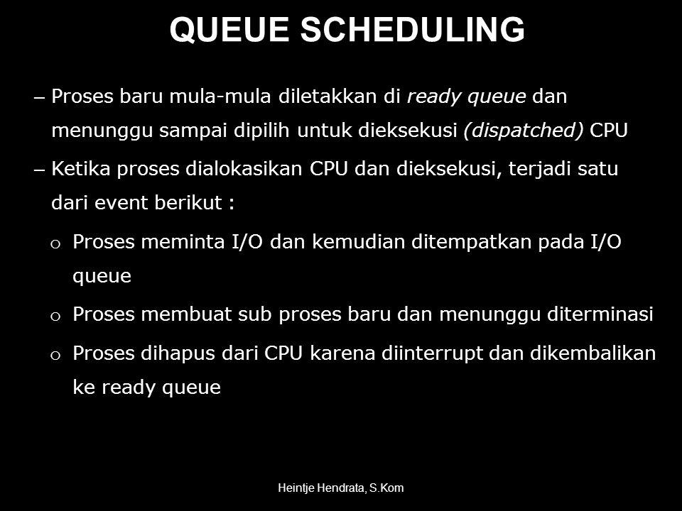 QUEUE SCHEDULING – Proses baru mula-mula diletakkan di ready queue dan menunggu sampai dipilih untuk dieksekusi (dispatched) CPU – Ketika proses dialokasikan CPU dan dieksekusi, terjadi satu dari event berikut : o Proses meminta I/O dan kemudian ditempatkan pada I/O queue o Proses membuat sub proses baru dan menunggu diterminasi o Proses dihapus dari CPU karena diinterrupt dan dikembalikan ke ready queue Heintje Hendrata, S.Kom