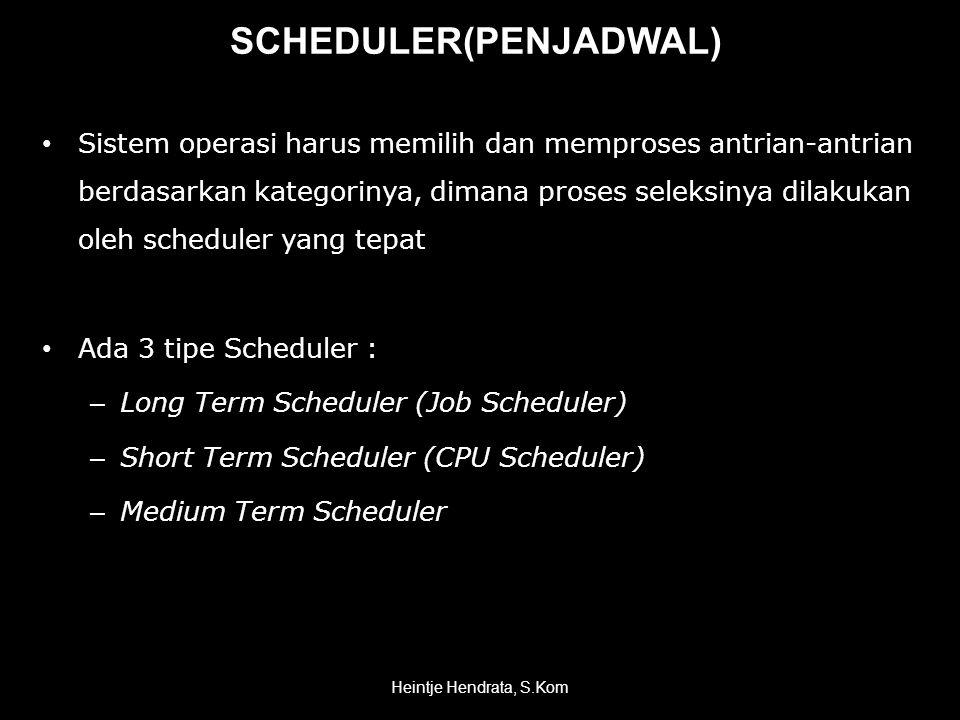 SCHEDULER(PENJADWAL) • Sistem operasi harus memilih dan memproses antrian-antrian berdasarkan kategorinya, dimana proses seleksinya dilakukan oleh scheduler yang tepat • Ada 3 tipe Scheduler : – Long Term Scheduler (Job Scheduler) – Short Term Scheduler (CPU Scheduler) – Medium Term Scheduler Heintje Hendrata, S.Kom