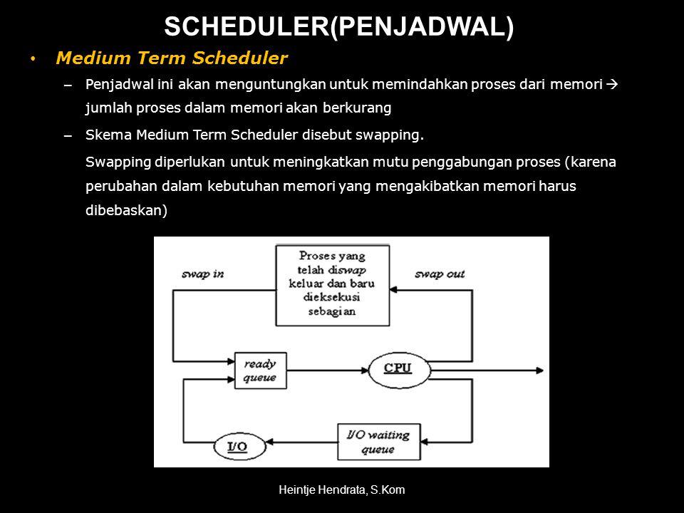 • Medium Term Scheduler – Penjadwal ini akan menguntungkan untuk memindahkan proses dari memori  jumlah proses dalam memori akan berkurang – Skema Medium Term Scheduler disebut swapping.