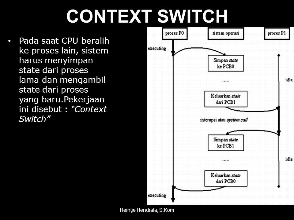 CONTEXT SWITCH • Pada saat CPU beralih ke proses lain, sistem harus menyimpan state dari proses lama dan mengambil state dari proses yang baru.Pekerjaan ini disebut : Context Switch Heintje Hendrata, S.Kom