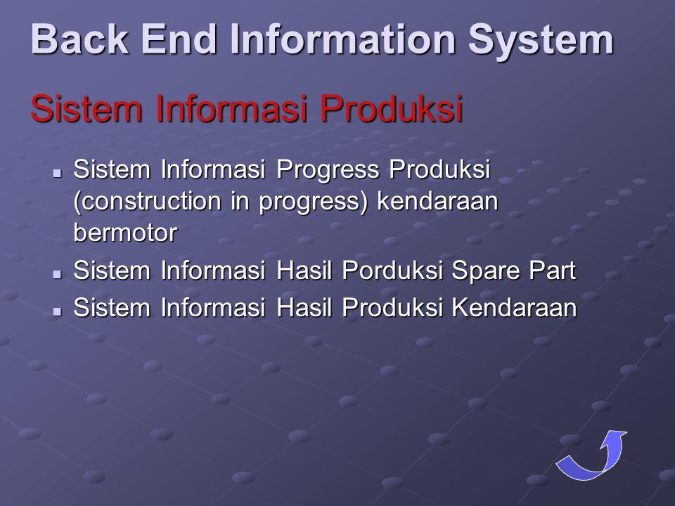  Sistem Informasi Progress Produksi (construction in progress) kendaraan bermotor  Sistem Informasi Hasil Porduksi Spare Part  Sistem Informasi Has