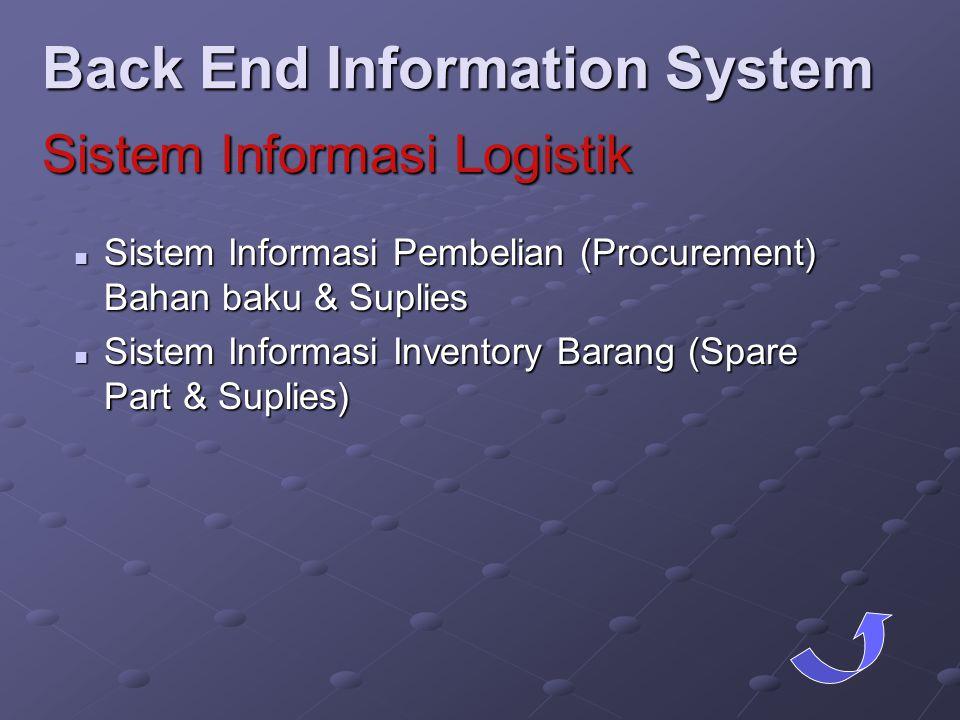  Sistem Informasi Pembelian (Procurement) Bahan baku & Suplies  Sistem Informasi Inventory Barang (Spare Part & Suplies) Back End Information System