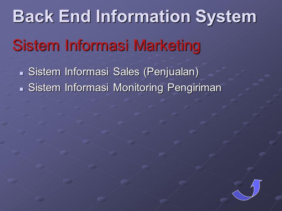  Sistem Informasi Sales (Penjualan)  Sistem Informasi Monitoring Pengiriman Back End Information System Sistem Informasi Marketing