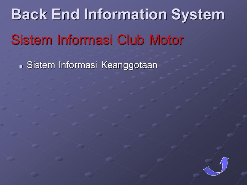  Sistem Informasi Keanggotaan Back End Information System Sistem Informasi Club Motor