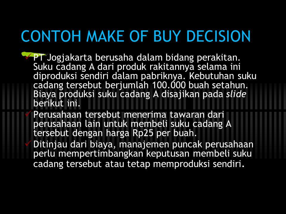 CONTOH MAKE OF BUY DECISION  PT Jogjakarta berusaha dalam bidang perakitan. Suku cadang A dari produk rakitannya selama ini diproduksi sendiri dalam