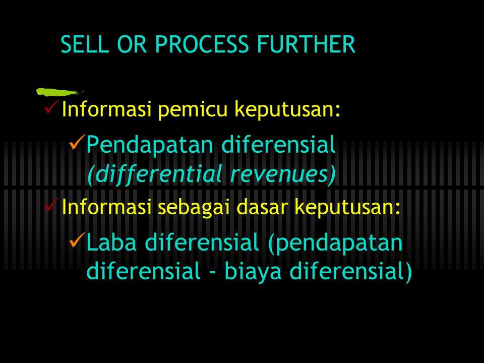 SELL OR PROCESS FURTHER  Informasi pemicu keputusan:  Pendapatan diferensial (differential revenues)  Informasi sebagai dasar keputusan:  Laba diferensial (pendapatan diferensial - biaya diferensial)