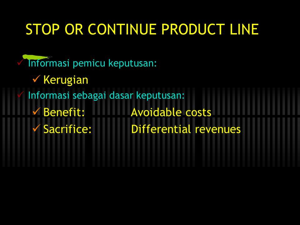 STOP OR CONTINUE PRODUCT LINE  Informasi pemicu keputusan:  Kerugian  Informasi sebagai dasar keputusan:  Benefit: Avoidable costs  Sacrifice: Differential revenues