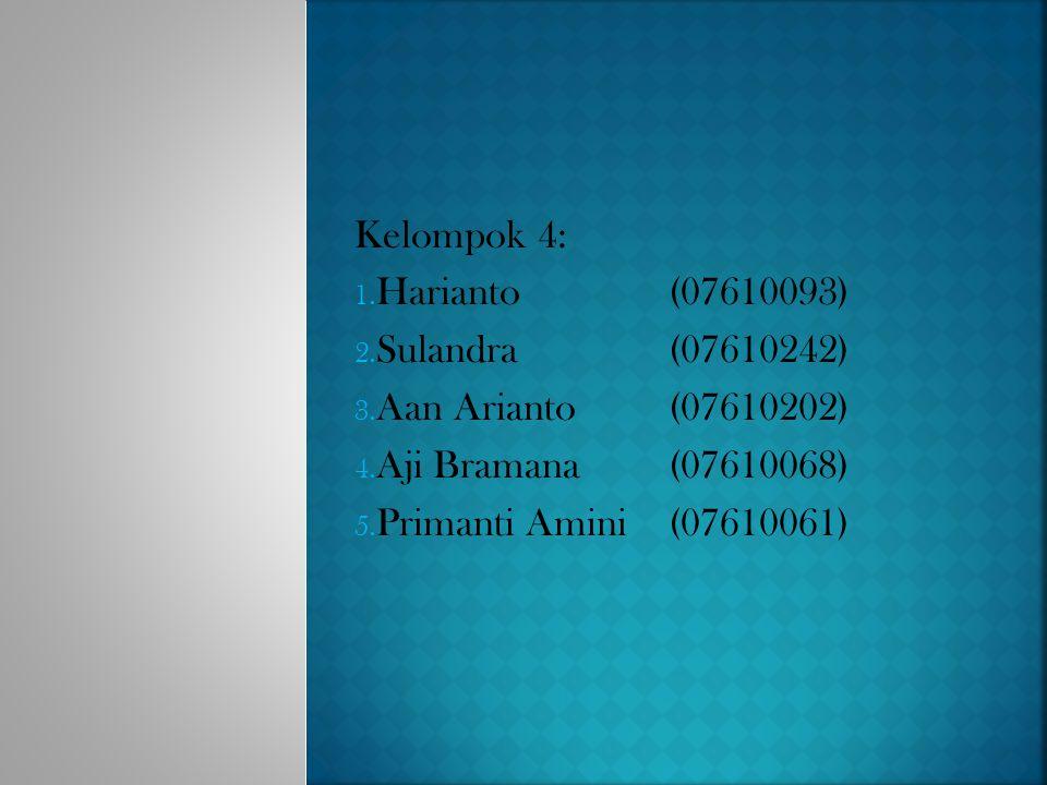 Kelompok 4: 1. Harianto(07610093) 2. Sulandra(07610242) 3. Aan Arianto(07610202) 4. Aji Bramana(07610068) 5. Primanti Amini(07610061)