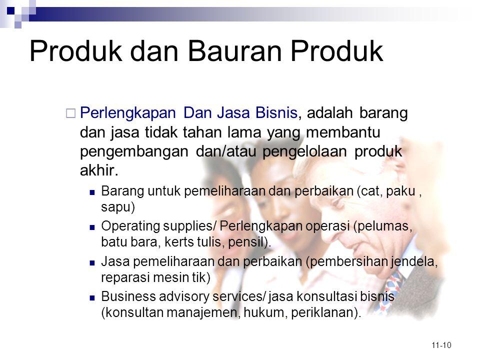 11-10 Produk dan Bauran Produk  Perlengkapan Dan Jasa Bisnis, adalah barang dan jasa tidak tahan lama yang membantu pengembangan dan/atau pengelolaan