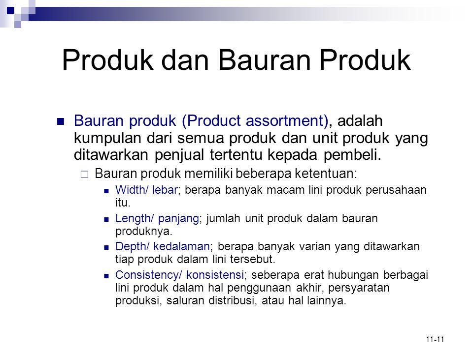 11-11 Produk dan Bauran Produk  Bauran produk (Product assortment), adalah kumpulan dari semua produk dan unit produk yang ditawarkan penjual tertent