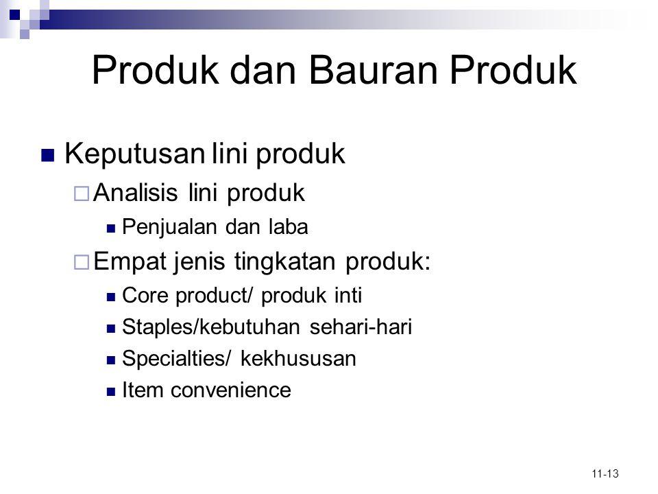 11-13 Produk dan Bauran Produk  Keputusan lini produk  Analisis lini produk  Penjualan dan laba  Empat jenis tingkatan produk:  Core product/ pro