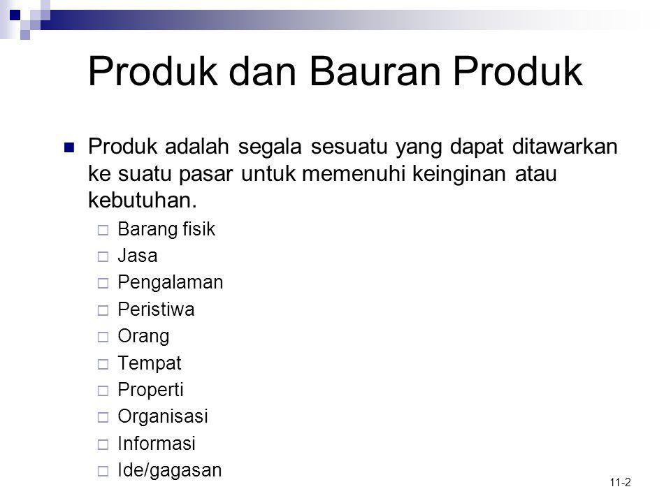 11-2 Produk dan Bauran Produk  Produk adalah segala sesuatu yang dapat ditawarkan ke suatu pasar untuk memenuhi keinginan atau kebutuhan.  Barang fi
