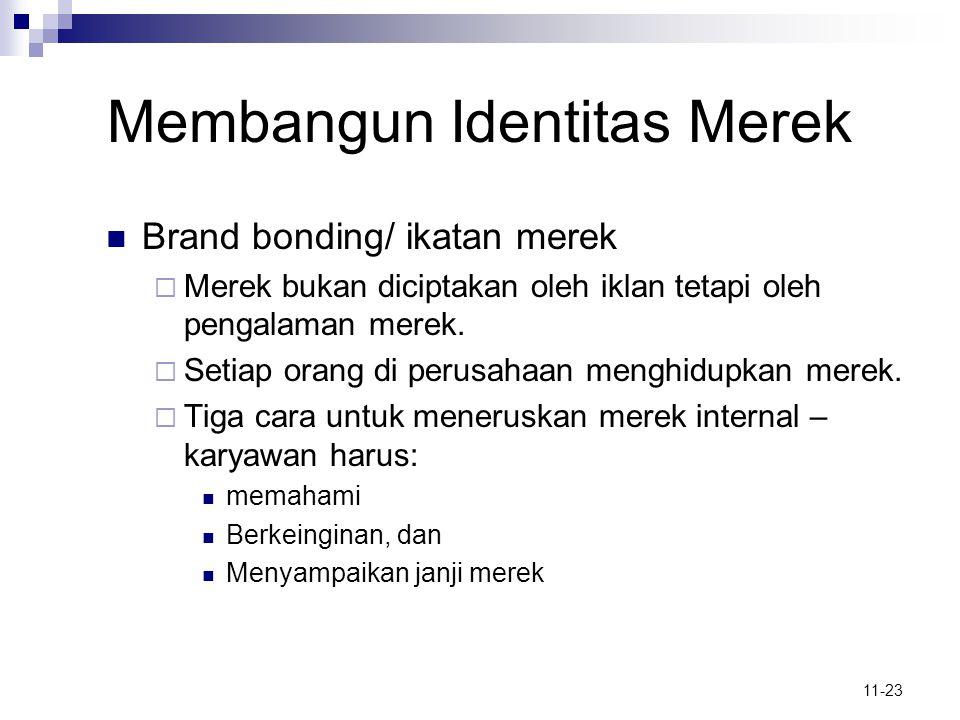 11-23 Membangun Identitas Merek  Brand bonding/ ikatan merek  Merek bukan diciptakan oleh iklan tetapi oleh pengalaman merek.  Setiap orang di peru
