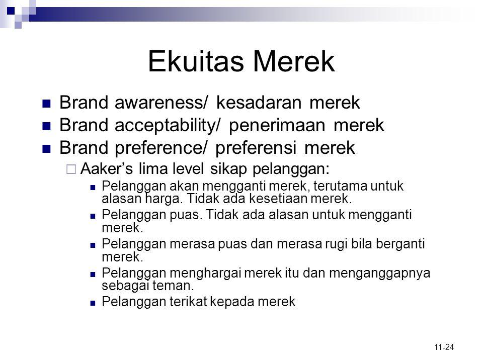 11-24 Ekuitas Merek  Brand awareness/ kesadaran merek  Brand acceptability/ penerimaan merek  Brand preference/ preferensi merek  Aaker's lima lev