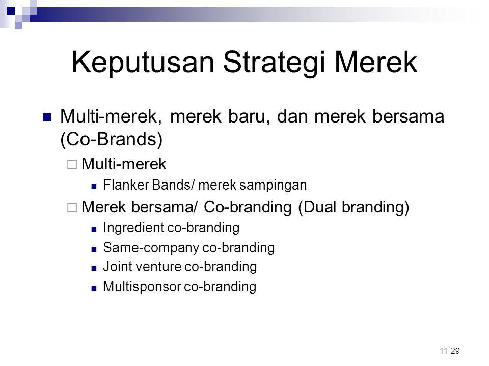 11-29 Keputusan Strategi Merek  Multi-merek, merek baru, dan merek bersama (Co-Brands)  Multi-merek  Flanker Bands/ merek sampingan  Merek bersama