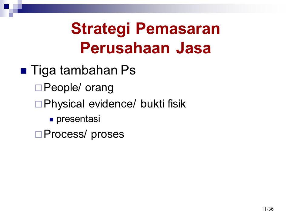 11-36 Strategi Pemasaran Perusahaan Jasa  Tiga tambahan Ps  People/ orang  Physical evidence/ bukti fisik  presentasi  Process/ proses