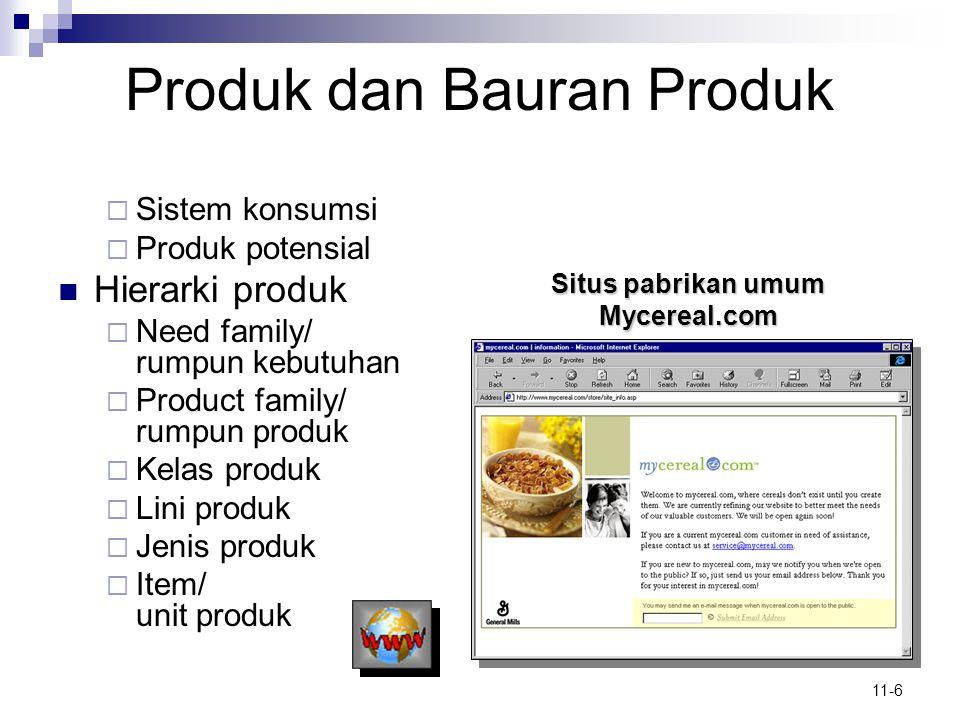 11-6 Produk dan Bauran Produk  Sistem konsumsi  Produk potensial  Hierarki produk  Need family/ rumpun kebutuhan  Product family/ rumpun produk 