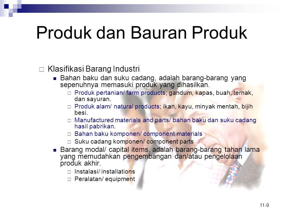 11-9 Produk dan Bauran Produk  Klasifikasi Barang Industri  Bahan baku dan suku cadang, adalah barang-barang yang sepenuhnya memasuki produk yang di