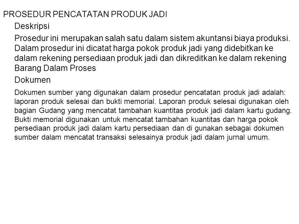 PROSEDUR PENCATATAN PRODUK JADI Deskripsi Prosedur ini merupakan salah satu dalam sistem akuntansi biaya produksi. Dalam prosedur ini dicatat harga po