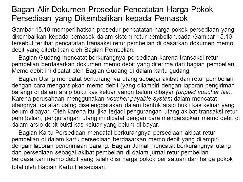 Bagan Alir Dokumen Prosedur Pencatatan Harga Pokok Persediaan yang Dikembalikan kepada Pemasok Gambar 15.10 memperlihatkan prosedur pencatatan harga p