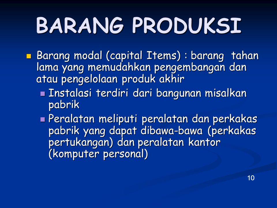 BARANG PRODUKSI  Barang modal (capital Items) : barang tahan lama yang memudahkan pengembangan dan atau pengelolaan produk akhir  Instalasi terdiri
