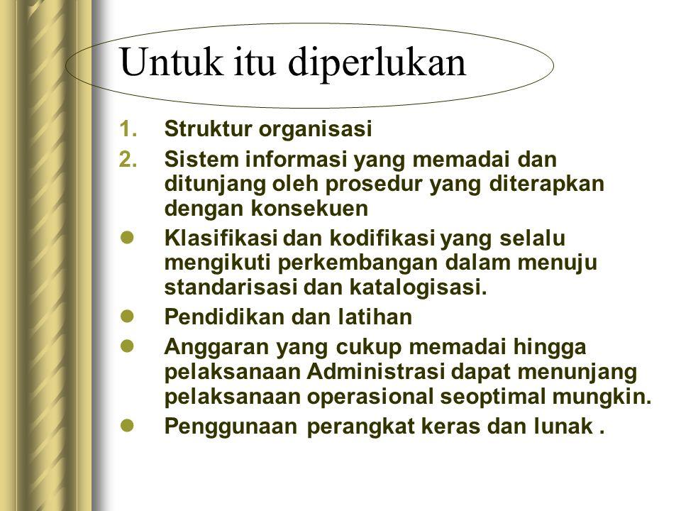 Untuk itu diperlukan 1.Struktur organisasi 2.Sistem informasi yang memadai dan ditunjang oleh prosedur yang diterapkan dengan konsekuen  Klasifikasi