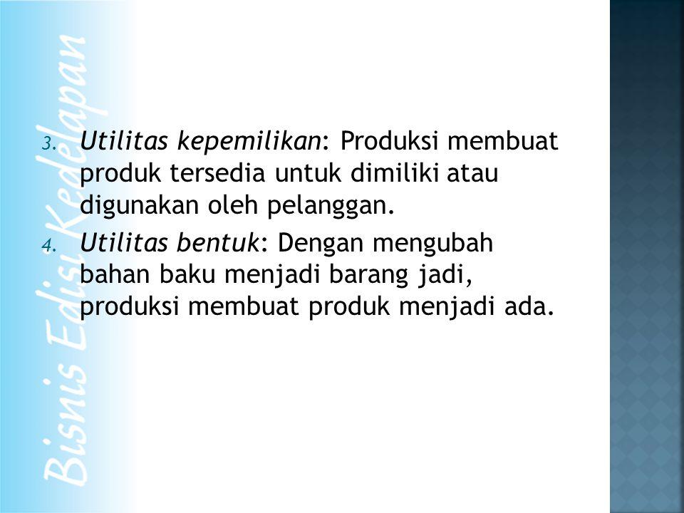 3. Utilitas kepemilikan: Produksi membuat produk tersedia untuk dimiliki atau digunakan oleh pelanggan. 4. Utilitas bentuk: Dengan mengubah bahan baku