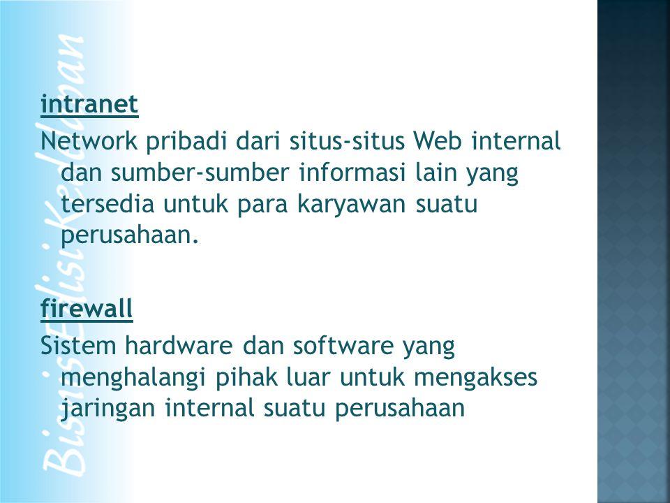 intranet Network pribadi dari situs-situs Web internal dan sumber-sumber informasi lain yang tersedia untuk para karyawan suatu perusahaan. firewall S