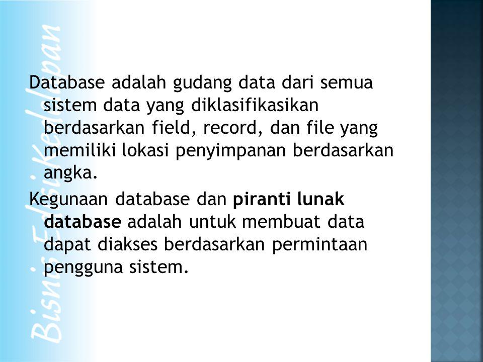 Database adalah gudang data dari semua sistem data yang diklasifikasikan berdasarkan field, record, dan file yang memiliki lokasi penyimpanan berdasarkan angka.