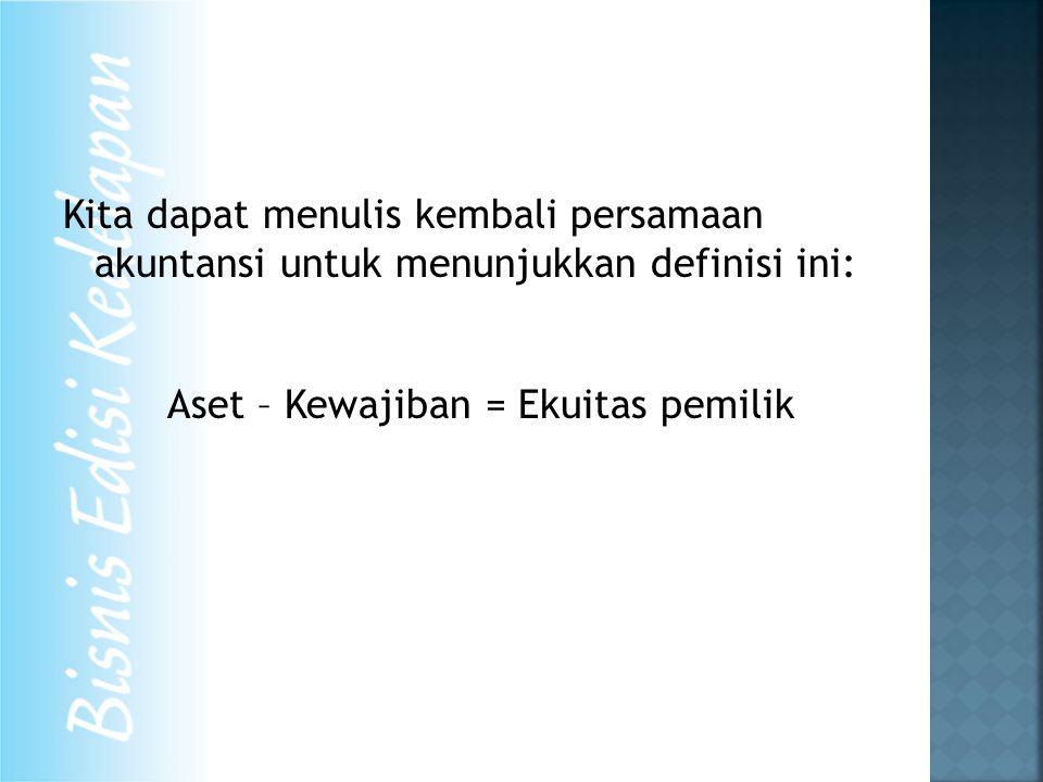 Kita dapat menulis kembali persamaan akuntansi untuk menunjukkan definisi ini: Aset – Kewajiban = Ekuitas pemilik