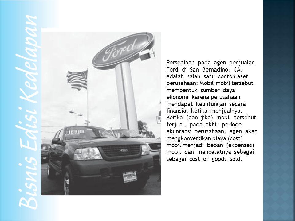 Persediaan pada agen penjualan Ford di San Bernadino, CA, adalah salah satu contoh aset perusahaan: Mobil-mobil tersebut membentuk sumber daya ekonomi karena perusahaan mendapat keuntungan secara finansial ketika menjualnya.