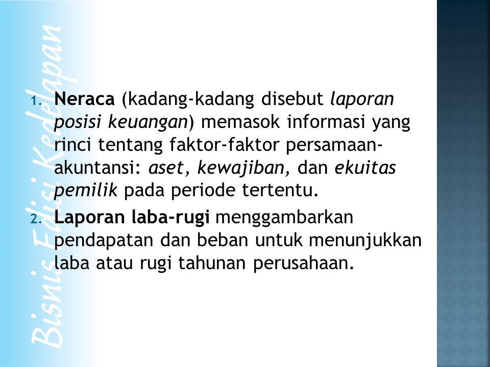 1. Neraca (kadang-kadang disebut laporan posisi keuangan) memasok informasi yang rinci tentang faktor-faktor persamaan- akuntansi: aset, kewajiban, da