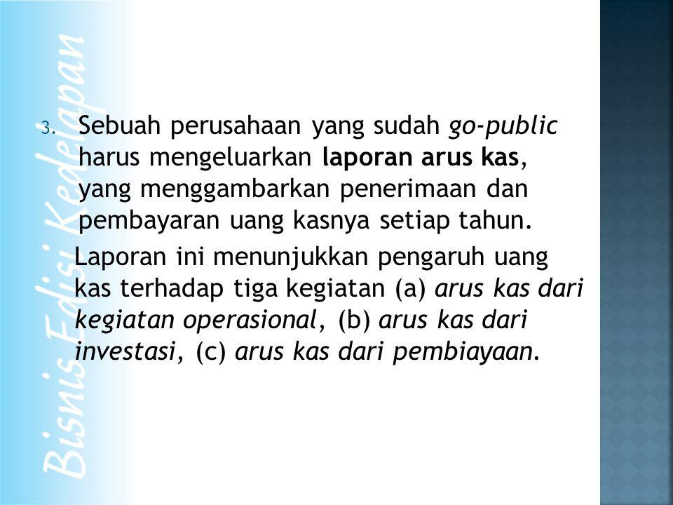 3. Sebuah perusahaan yang sudah go-public harus mengeluarkan laporan arus kas, yang menggambarkan penerimaan dan pembayaran uang kasnya setiap tahun.