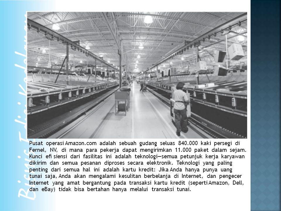 Pusat operasi Amazon.com adalah sebuah gudang seluas 840.000 kaki persegi di Fernel, NV, di mana para pekerja dapat mengirimkan 11.000 paket dalam sejam.