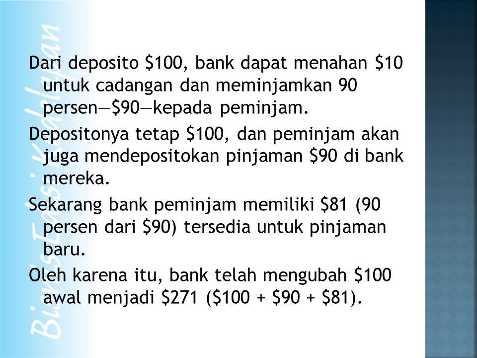 Dari deposito $100, bank dapat menahan $10 untuk cadangan dan meminjamkan 90 persen—$90—kepada peminjam.