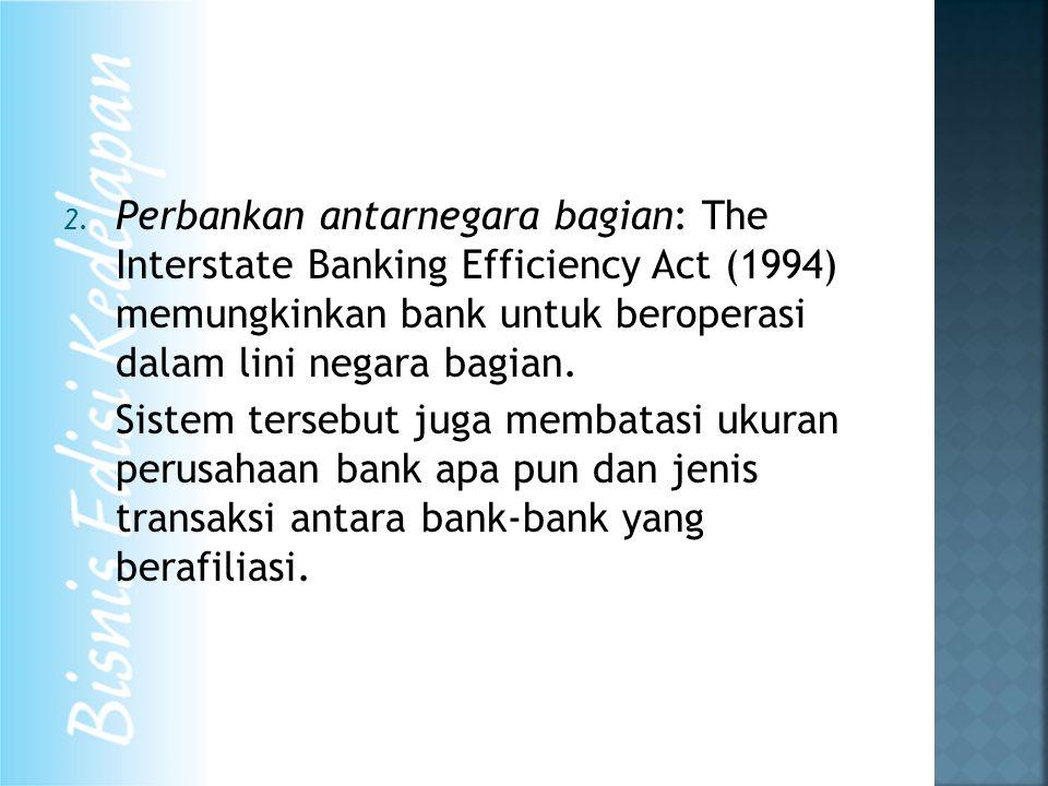 2. Perbankan antarnegara bagian: The Interstate Banking Efficiency Act (1994) memungkinkan bank untuk beroperasi dalam lini negara bagian. Sistem ters